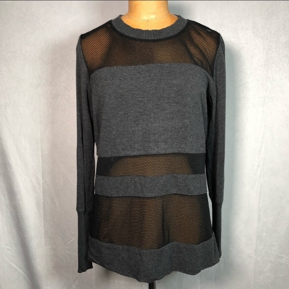 Alo Yoga Gray Black Mesh Top
